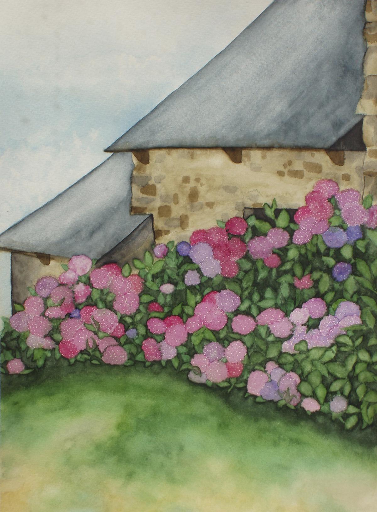 Haus mit Hortensien (zu verkaufen)