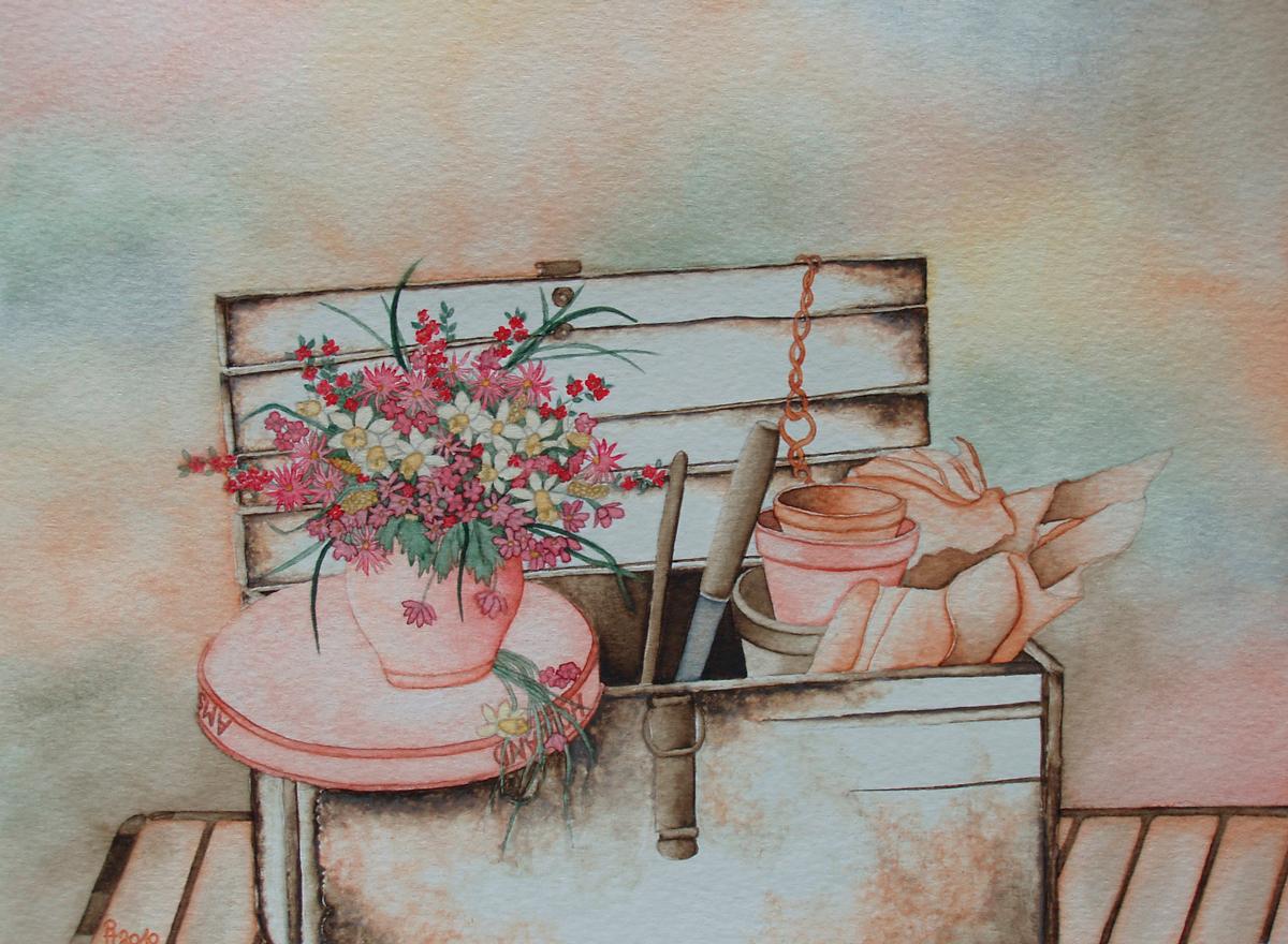 Kiste mit Blumenstrauss (zu verkaufen)